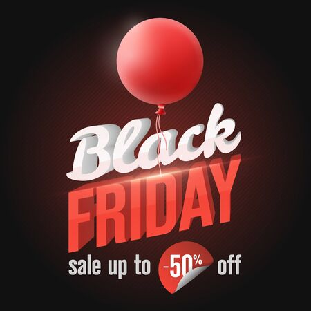 Black Friday Sale Banner 2019. Social Media Banner Design Template. 3d letters with lighting and a red balloon. Stylish template for seasonal advertising. sale up to -50% off. Vector illustration