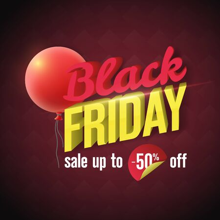 Black Friday Sale Banner 2019. Social Media Banner Design Template. 3d letters with lighting and a red balloon. Fashionable template for seasonal advertising. sale up to -50% off. Vector illustration Illustration