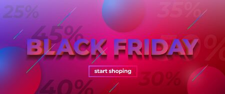 Black friday sale 2019, limited offer. Beautiful discount and promotion banner. 3d letters with shadow. Fluid gradient shapes composition. Liquid color background design. Sale poster for the promo Фото со стока - 132823955