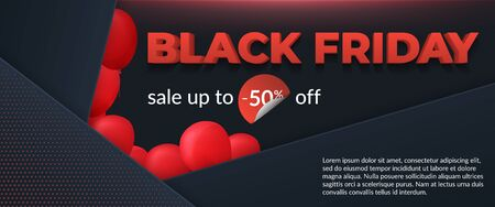Black friday sale 2019, limited offer. Beautiful discount and promotion banner. 3d inscription, ribbons and red balloons on a dark background. Social media web banner for shopping, promotion
