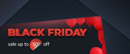 Black friday sale 2019, limited offer. Beautiful discount and promotion banner. 3d inscription, ribbons and red balloons on a dark background. Abstract background with black geometric planes. Eps10