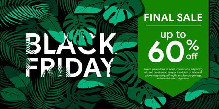 Black Friday 2019. Final sale up to 60% off Green tropical leaves on a black background. Floral frame with tropical plants. Sale banner, poster with palm leaves and  hibiscus. Discount background Stock Vector - 132655682