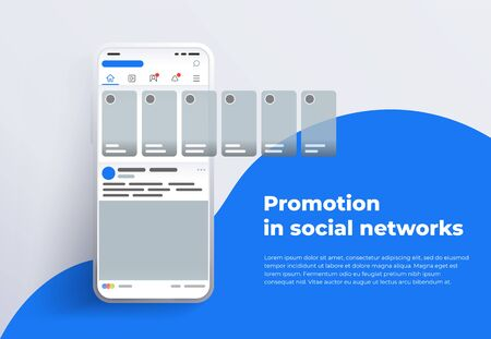Promotion in social media. Smartphone with interface carousel post on social network. Stories in social networks. Design template from landing page or banner. Modern white smartphone 2019 Фото со стока - 132823962