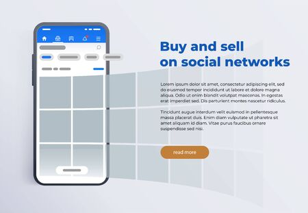 News feed in a social network in the form of a grid. Promotion in social media. Smartphone with social network interface. Screen phone with the application.