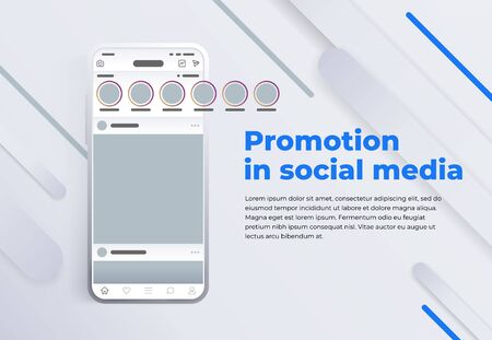 Promotion in social media. Stories in social networks. Modern cellphone with app screen mockup. Smartphone with interface carousel post on social network. Design template from landing page or banner