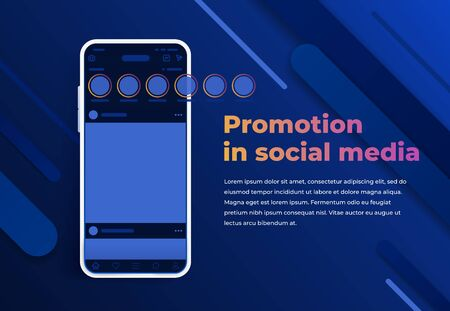 Promotion in social media. Stories in social networks. Modern cell phone with app screen mockup. Smartphone with interface carousel post on social network. Abstract colorful memphis background