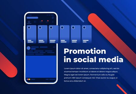 Promotion in social media. Smartphone with interface carousel post on social network. Stories in social networks. Modern white smartphone. Blue abstract background for website and mobile app banner