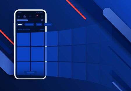 News feed in a social network in the form of a grid. Promotion in social media. Smartphone with social network interface. Modern black smartphone 2019. Abstract background for website and mobile app