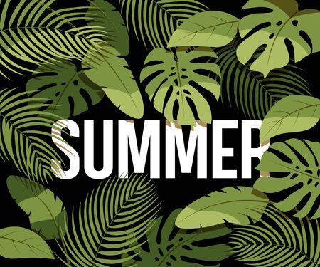 Tropical summer sale poster. Green tropical leaves on a black background. Summer floral frame with tropical plants. Banner for advertisement.