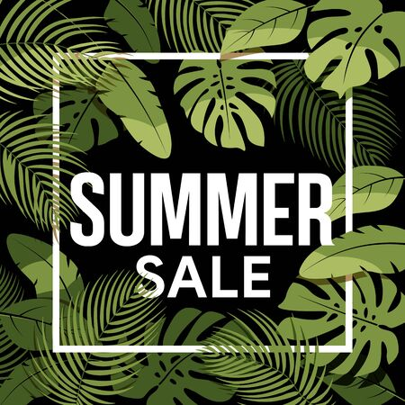 Tropical summer sale poster. Green tropical leaves on a black background. Summer floral frame with tropical plants. Sale banner, poster with palm leaves and  hibiscus. Illustration