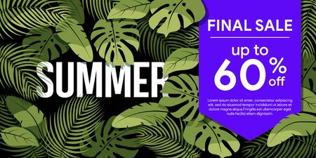 Final sale up to 60% off Green tropical leaves on a black background. Summer floral frame with tropical plants. Sale banner, poster with palm leaves and  hibiscus. Discount background