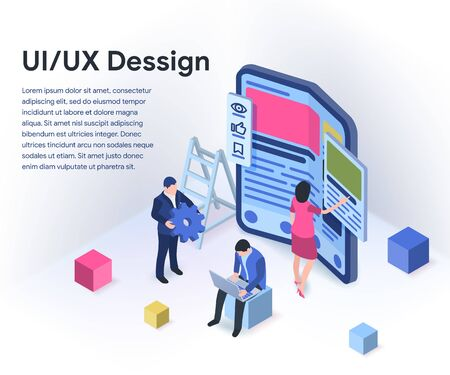 UI / UX design concept with character and text place. Modern flexible phone in 3d isometric style. Teamwork on the application. Vector illustration isolated on white background. Stock Vector - 132655216