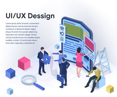 Modern flexible phone in 3d isometric style. UI / UX design concept with character and text place. People are working on creating a mobile application. Vector illustration isolated on white background