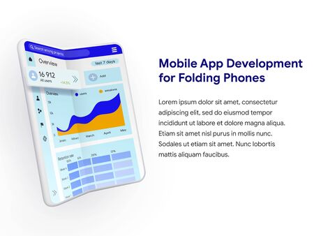 Application development for modern folding phones. Flexible phone in realistic 3D style. Can use for web banner, infographics, hero images. Vector illustration isolated on white background. Иллюстрация