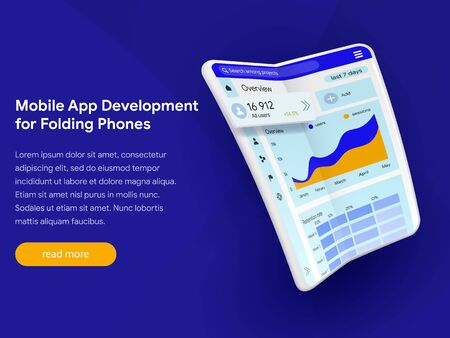 Application development for modern folding phones. Modern flexible phone in the expanded form. Can use for web banner, infographics, hero images. Vector illustration isolated on blue background.