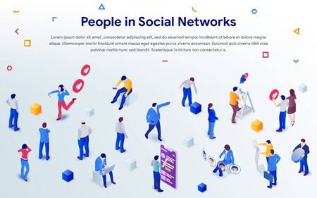 People in social networks 2019. Mix of different men and women in crowd on white background. 3d isometric promotion business concept. Communication addiction. Vector illustration for web or poster Иллюстрация