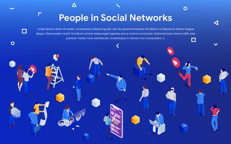 People in social media 2019. 3d isometric promotion business concept. Men and women in crowd on blue background. Communication addiction. Vector illustration for website or advertisement. Фото со стока - 132656202