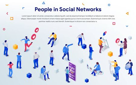 People in social networks 2019. Mix of different men and women in crowd on white background. 3d isometric promotion business concept. Communication addiction. Vector illustration for web or poster Фото со стока - 132656576