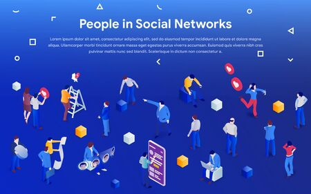 People in social media 2019. 3d isometric promotion business concept. Men and women in crowd on blue background. Communication addiction. Vector illustration for website or advertisement.