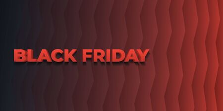 Black friday sale. 3d letters in red. Zigzag trend gradient background. Stylish black template for advertising, social media, poster and presentations. Vector illustration Фото со стока - 132824096