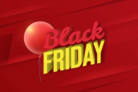 Black Friday sale web banner template. Social Media Banner Design Template. Social Media Banner Design Template. 3d letters of white and red color with highlights and shadows. Vector image Фото со стока - 132824099