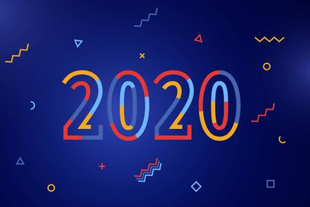 Happy New Year 2020. Greeting card with inscription Happy New Year 2020. Memphis geometric bright style for Merry Christmas. Holiday background, banner, poster. Social Media Cover. Vector Illustration
