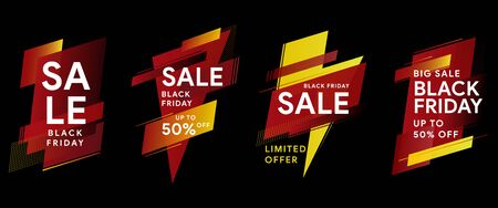 Black Friday. Sale and discounts banners. Set of banners for web, social networks and advertising. Tags for discounts. Modern dynamic labels. Vector banners of geometric shapes with sharp corners.
