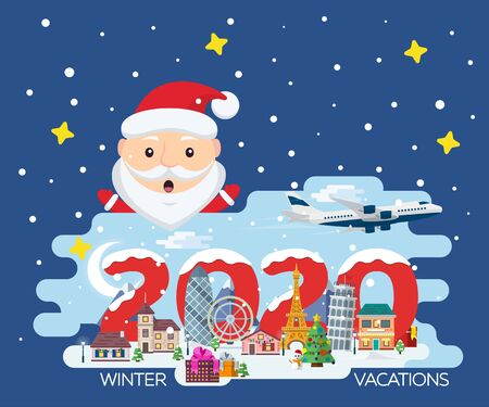 Happy New Year 2020. Traveling in time of vacation by plane. Travel to Europe. Merry Christmas banner in flat style. The winter holiday. Flat Santa Claus. Europe winter town vector illustration Иллюстрация