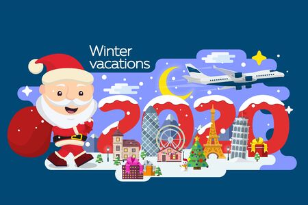 Santa Claus with a suitcase and tickets in hands. Happy New Year 2020. Merry Christmas banner in flat style. Traveling in time of vacation by plane. Travel to Europe. The winter holiday.