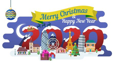 Travel to Europe. The winter holiday. Happy New Year 2020.  New Year and winter travel background. Christmas winter landscape. Santa Claus, ribbon and Christmas balls. Vector illustration.