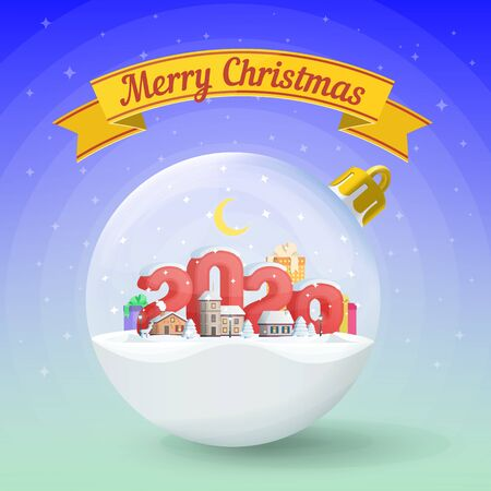 Merry Christmas and Happy New Year 2020. Realistic christmas glass ball. Greeting card. Flat 3d numbers and objects. Festive ribbon. vector illustration. Greeting card and advertising design template.