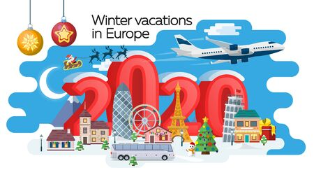 New Year 2020 winter travel banner. Christmas travel, Europe winter town, snow village. Traveling by plane and bus. The winter vacation. Santa Claus. Vector image Illustration
