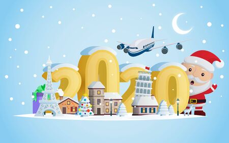 New year 2020. Greeting card. Santa Claus and volumetric numbers 2020. The winter vacation.  A small town in the mountains at night. Christmas travel vector illustration.