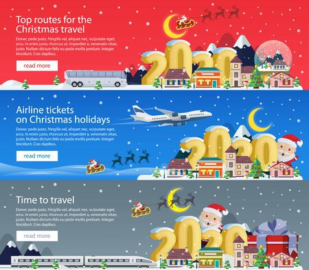 New Year and Merry Christmas 2020. Banners set for advertising. The winter vacation. Traveling by plane, bus and train. Santa Claus and the village. Christmas travel vector illustration
