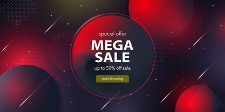Mega sale banner. special offer. Advertising and Social media web banner for shopping, sale, product promotion. Background for website and mobile app banner, email. Vector image in black and red colors. Фото со стока - 138964575