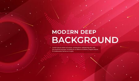 Red background with dynamic shapes. Abstract fluid color pattern of neon color liquid gradient background. Template for advertising, social network page cover, Card, Book Illustration, landing page.