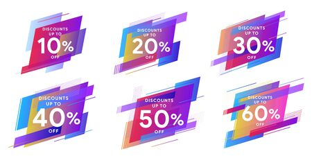 Set of colored stickers and sale banners. Dynamic geometric shapes with gradient. Template for horizontal text. Trendy minimal design as template for cover, presentation, banner. Vector illustration