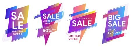 Set of colored stickers and sale banners. Flat geometric liquid shapes. Best Offer sale banners for social media, web page, promotion. Template for horizontal text. Vector illustration eps 10 Illustration