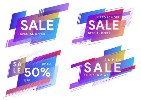 Set of colored stickers and sale banners. Trendy minimal design as template for cover, presentation, banner. Template for horizontal text. Flat geometric liquid shapes. Vector illustration eps 10