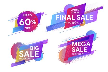 Set of colored stickers and sale banners.  Discount up to 60% off.  Trendy minimal design as template for cover, presentation, banner. Geometric colorful abstract shapes set for banner web, app.