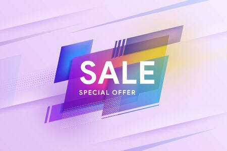 Sale special offer banner. Dynamic geometric shapes with gradient. Trendy minimal design as template for cover, presentation, banner. Abstract modern graphic badge. Vector illustration eps 10 Иллюстрация