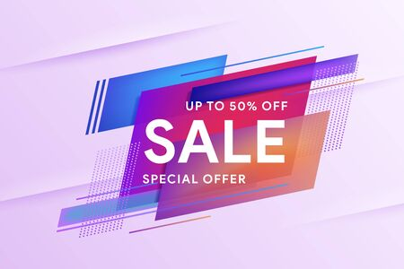 Sale special offer banner. Discount up to 50% off. Template for horizontal text. Geometric colorful abstract shape set badge background for banner web, app, poster. Flat geometric liquid shapes. Иллюстрация