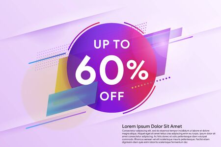 Discount up to 60% off. Sale special offer banner. Trendy minimal design as template for cover, presentation, banner. Social media banner template, voucher, discount, flash sale. Vector illustration Фото со стока - 138964732