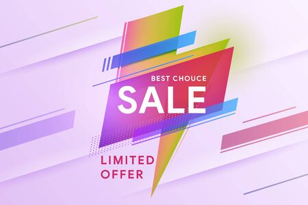 Sale banner. The best choice. Special offer. Vivid lightning bolt in modern poster design style. Geometric colorful abstract shape set badge background for banner web, app, poster. Vector illustration