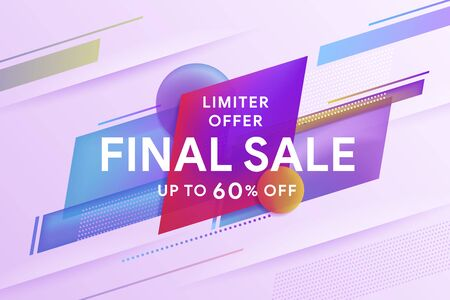 Final sale discount banner template promotion. Discount up to 60% off. Geometric colorful abstract shape set badge background for banner web, app, poster. Template for horizontal text. Vector image