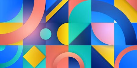 Trending background in cubism style. Illustration with abstract figures. Geometric shapes in squares with a gradient. Template for advertising, blog and social media. Vector illustration.