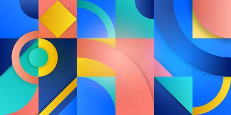 Illustration with abstract figures. Geometric shapes in squares with a gradient. Trending background in cubism style. Modern template for advertising, blog and social media. Vector illustration.
