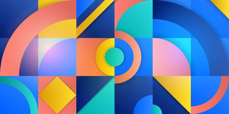 Trending background in cubism style. Illustration with abstract figures. Circles, rhombuses, squares and triangles with a gradient. Template for advertising, blog and social media. Vector illustration