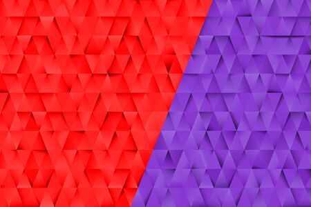 Red and Blue triangles abstract background. Business template for advertising, poster, business card and social networks. Small triangles with shadows. Design templates with copy space for text.