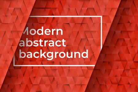 Red triangles abstract background. Business template for advertising, poster, business card and social networks. Abstract horizontal banner and background with copy space for text. Vector illustration Иллюстрация